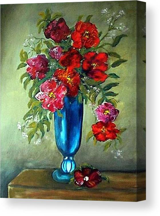 Floral Canvas Print featuring the painting Tueday Afternoon He Brought Flowers by Renee Gandy