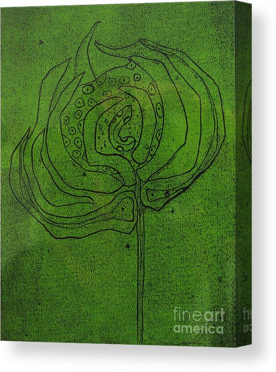 Green Canvas Print featuring the painting Untitled by Angela Dickerson