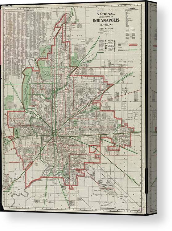 Vintage Map Of Indianapolis Indiana - 1921 Canvas Print / Canvas Art on