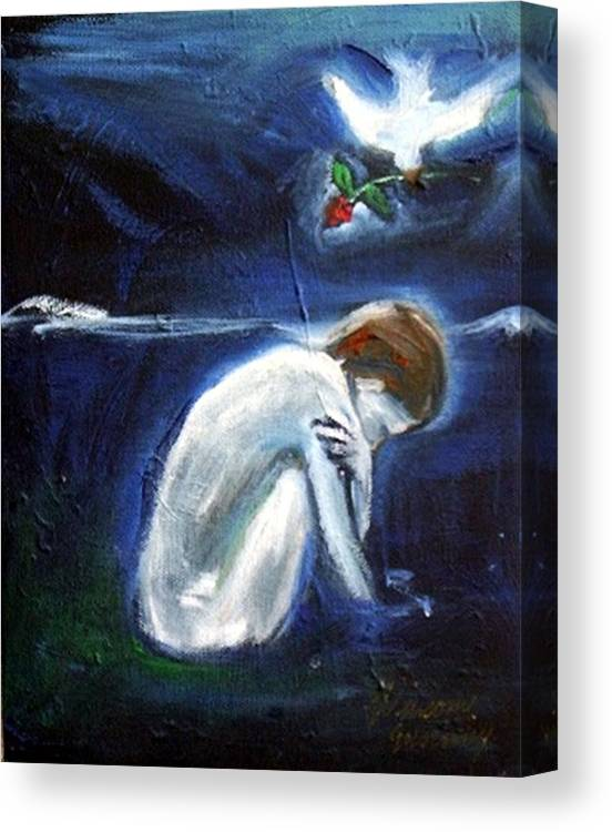Bird Canvas Print featuring the painting Waiting by Winsome Gunning