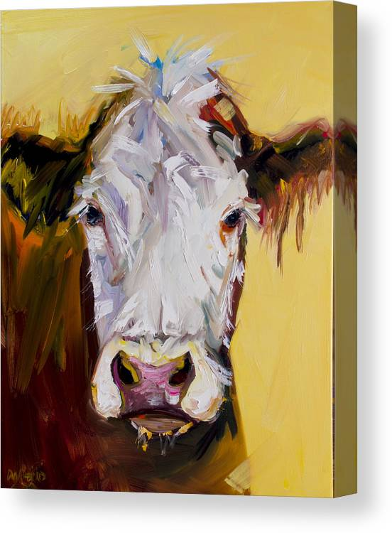 Cow Canvas Print featuring the painting White One by Diane Whitehead