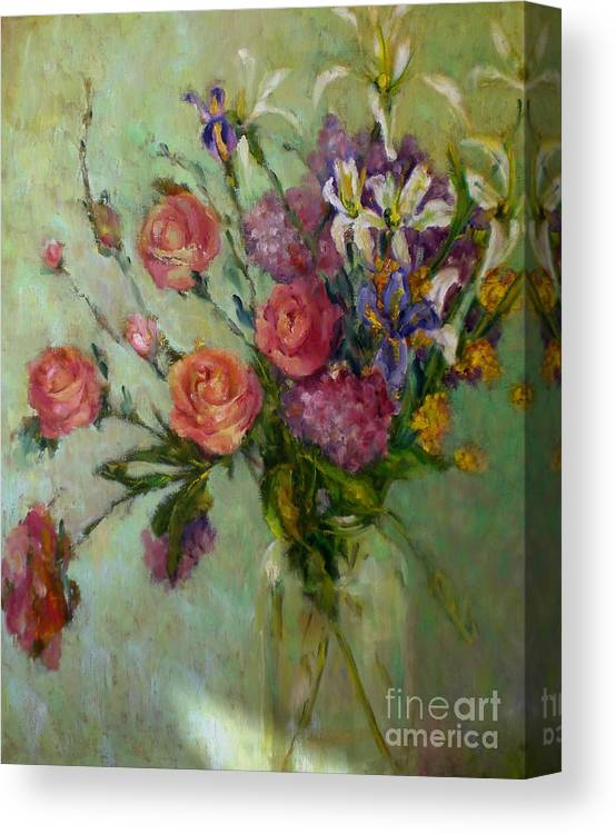Pink Roses Canvas Print featuring the painting Wilde Irish Roses         Copyrighted by Kathleen Hoekstra