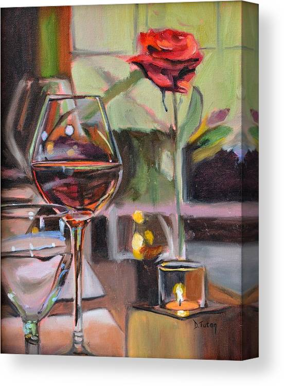 Rose Canvas Print featuring the painting Wine By Candlelight by Donna Tuten