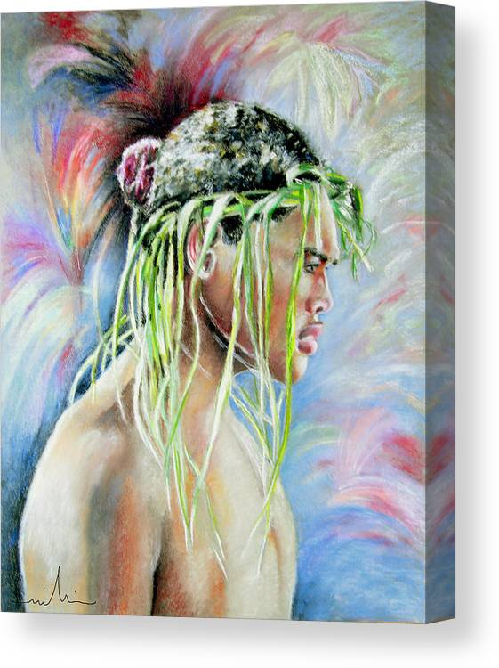 Maori Canvas Print featuring the painting Young Maori Warrior by Miki De Goodaboom