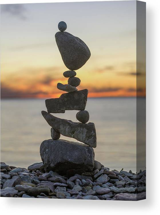 Meditation Zen Yoga Mindfulness Stones Nature Land Art Balancing Sweden Canvas Print featuring the sculpture Balancing Art #34 by Pontus Jansson