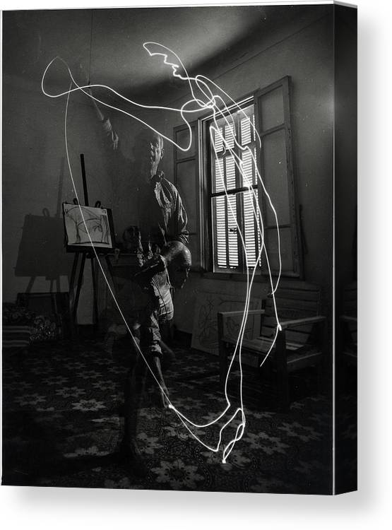 Artist Canvas Print featuring the photograph Picasso Drawing With Light by Gjon Mili
