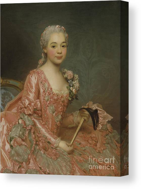 Girl Canvas Print featuring the painting Baroness De Neubourg-cromiere by Alexander Roslin