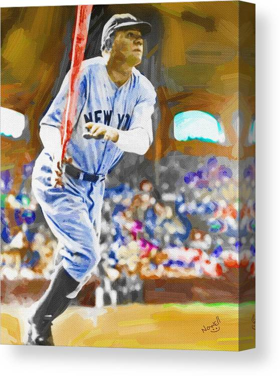 New York Yankees Canvas Print featuring the painting Babe Ruth Hits One Out by Peter Nowell