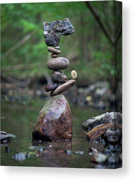 Meditation Zen Yoga Mindfulness Stones Nature Land Art Balancing Sweden Canvas Print featuring the sculpture Balancing Art #18 by Pontus Jansson