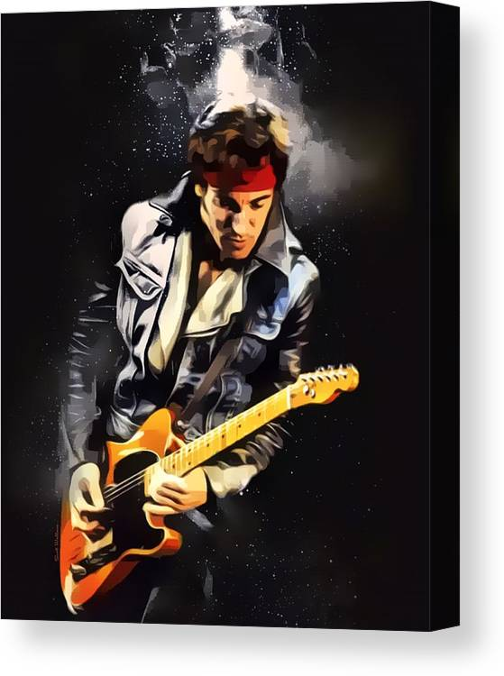 Bruce Springsteen Canvas Print featuring the digital art Bruce Springsteen Portrait by Scott Wallace Digital Designs