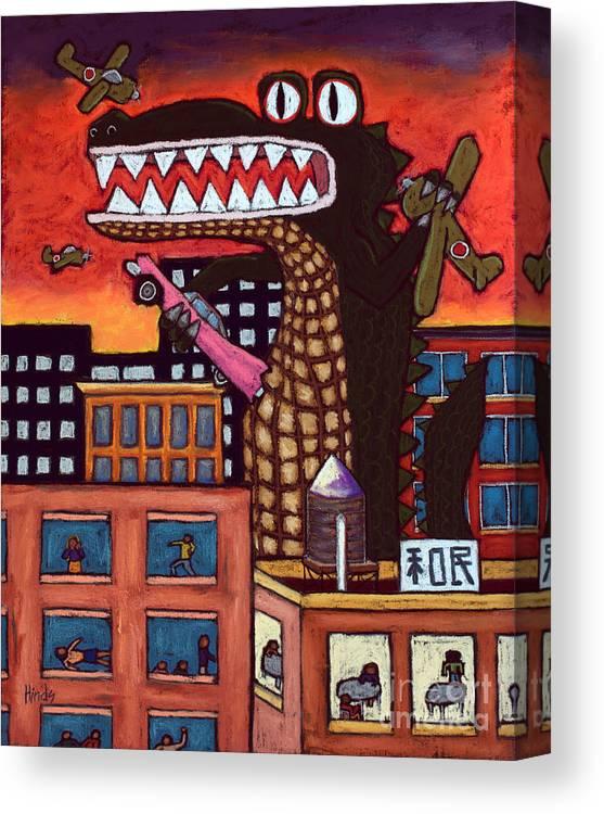 Godzilla Canvas Print featuring the painting Godzilla by David Hinds