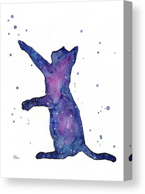 Space Canvas Print featuring the painting Playful Galactic Cat by Olga Shvartsur