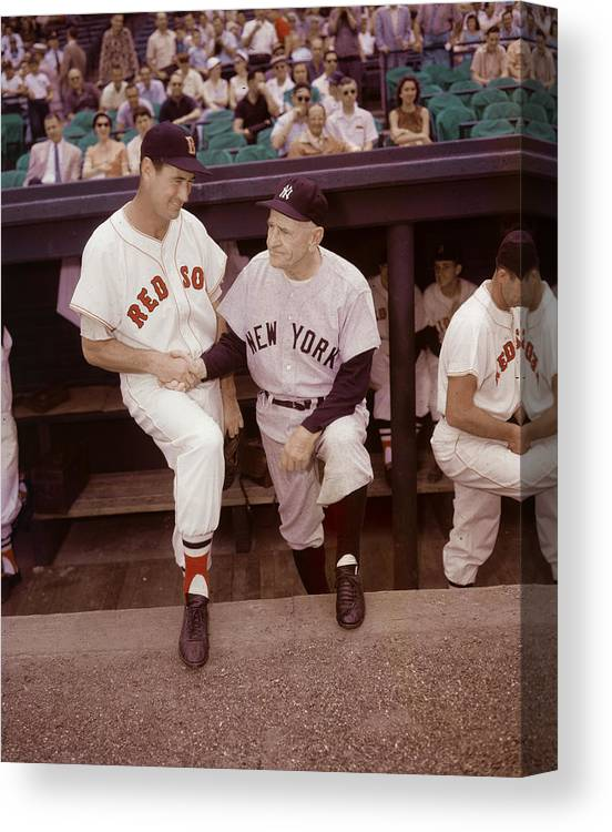 1950-1959 Canvas Print featuring the photograph Ted Williams & Casey Stengel by Hulton Archive