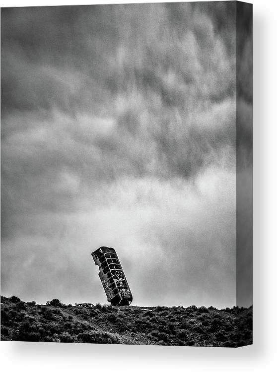 International Car Park Of The Last Church Canvas Print featuring the photograph The Bus Who Fell To Earth by Joseph Smith