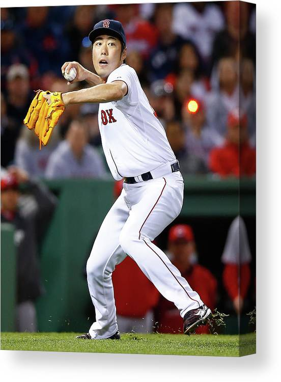 American League Baseball Canvas Print featuring the photograph Koji Uehara by Jared Wickerham