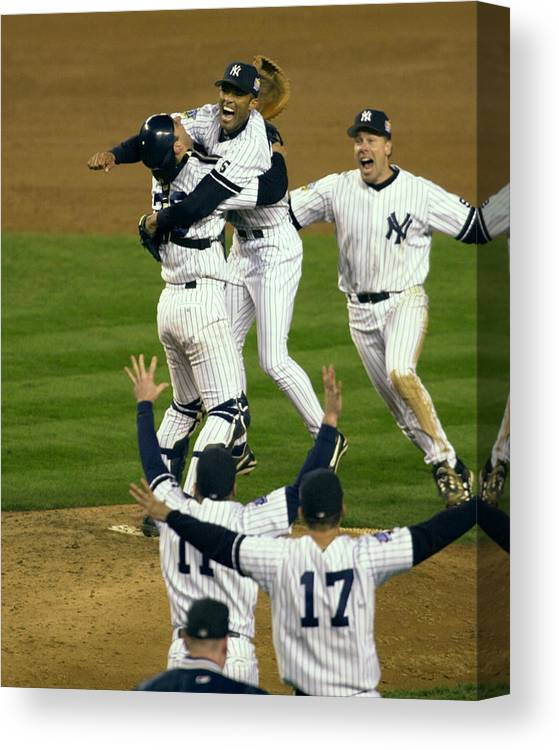 Baseball Catcher Canvas Print featuring the photograph Mariano Rivera, Scott Brosius, And Jorge Posada by New York Daily News Archive