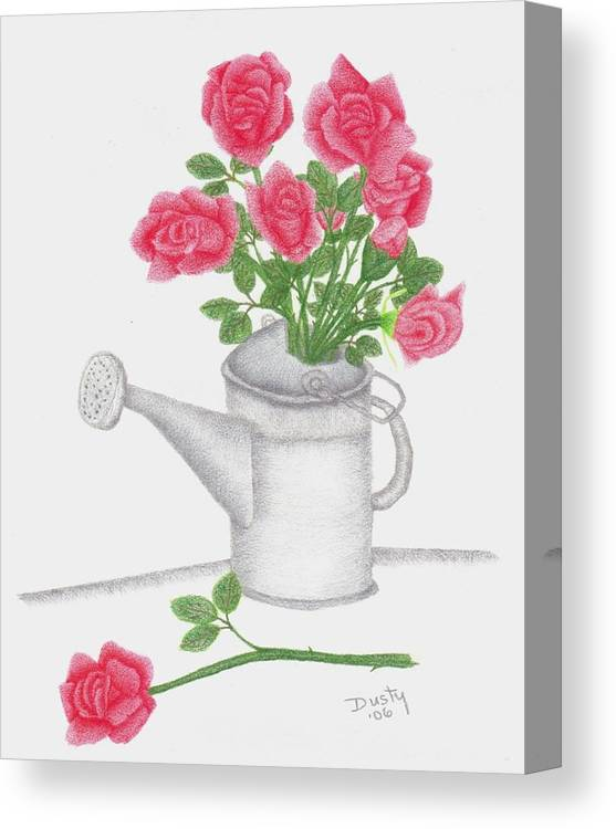 Rose Canvas Print featuring the drawing Watering Can With Red Roses by Dusty Reed