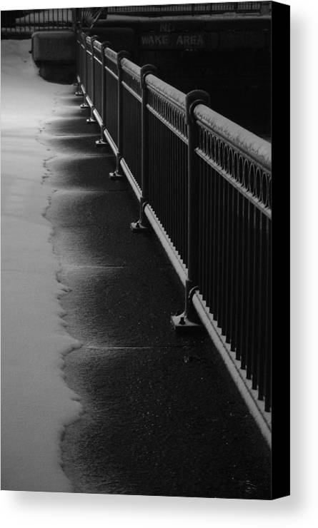 Winter Canvas Print featuring the photograph Snowy Rail by Eric Workman