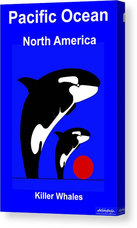 Canvas Print featuring the digital art Pacific Ocean - North America by Asbjorn Lonvig