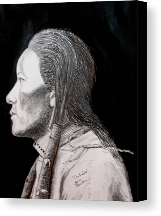 Indian Portrait Canvas Print featuring the drawing Coutudle by Stan Hamilton