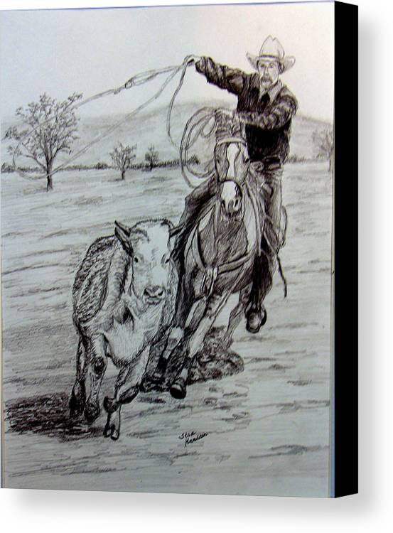 Cowboy Canvas Print featuring the drawing Ranch Work by Stan Hamilton