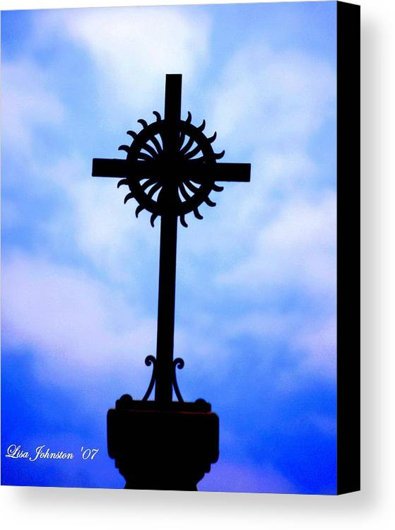 Cross Canvas Print featuring the photograph Holy Cross Catholic Church by Lisa Johnston