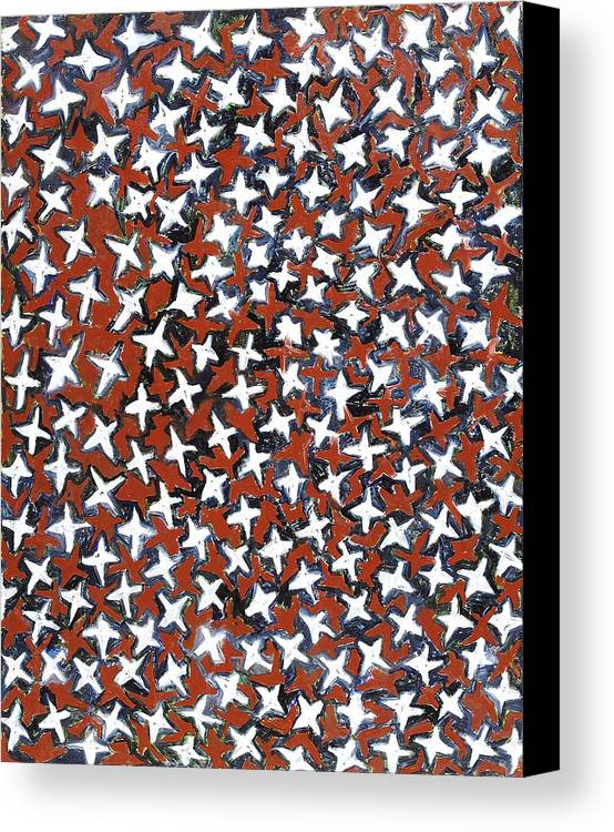 Abstract Stars White Red Pattern Canvas Print featuring the painting Stars by Joan De Bot