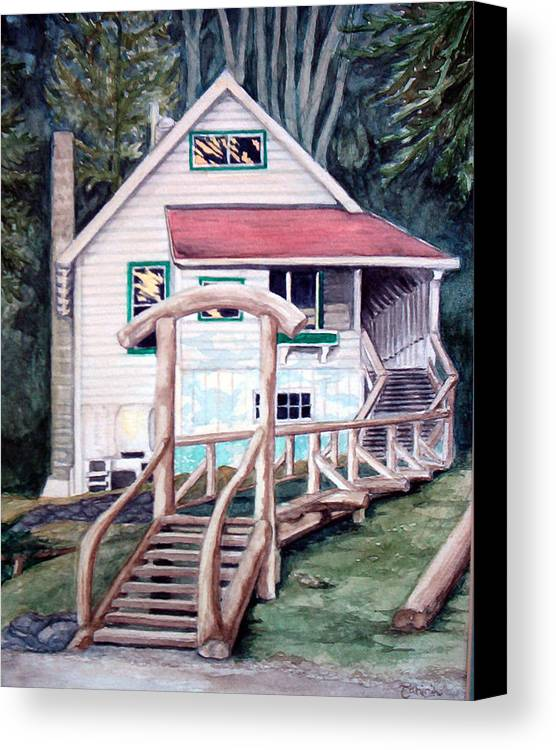 Old House Canvas Print featuring the painting The Waterfront by Tahirih Goffic