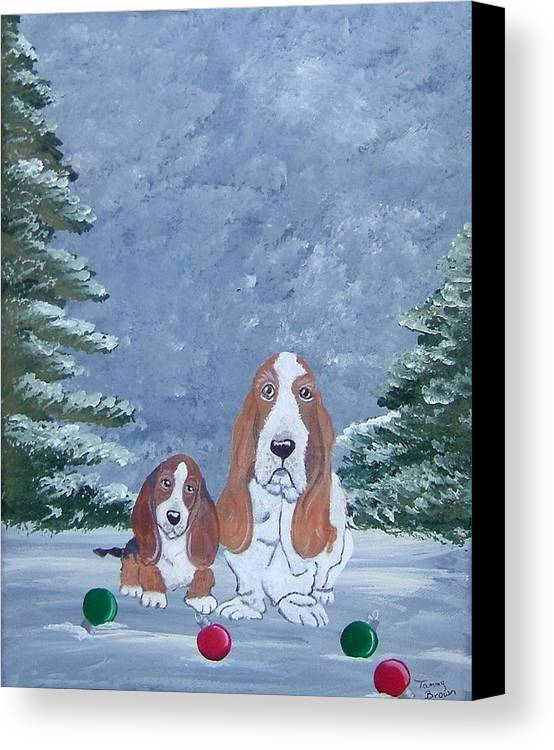 Basset Hound Canvas Print featuring the painting Time To Decorate by Tammy Brown