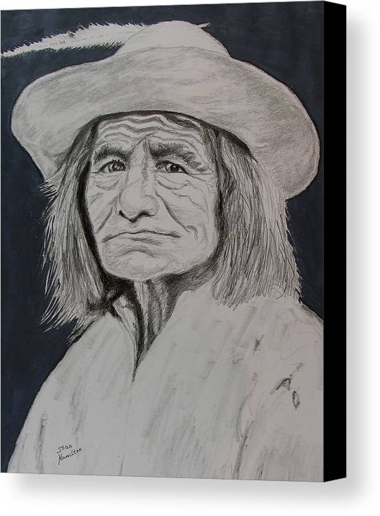Graphite Canvas Print featuring the drawing Unknown Indian Vi by Stan Hamilton