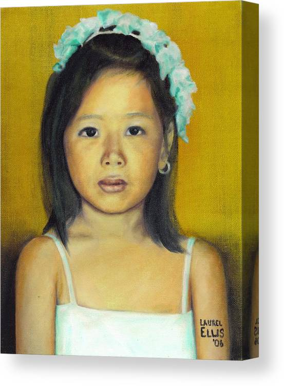Portrait Canvas Print featuring the painting The Flower Girl by Laurel Ellis