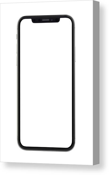 Corporate Business Canvas Print featuring the photograph Apple iPhone X Silver White Blank Screen by Bombuscreative