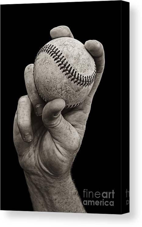 Baseball Canvas Print featuring the photograph Fastball by Diane Diederich
