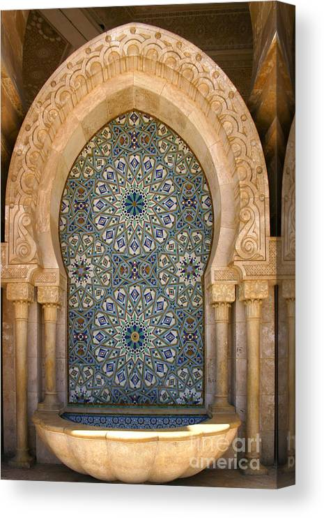 Holy Water Fountain Canvas Print featuring the photograph Holy Water Fountain Hassan II Mosque Sour Jdid Casablanca Morocco by PIXELS XPOSED Ralph A Ledergerber Photography