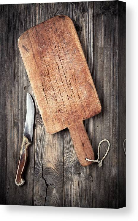 Empty Canvas Print featuring the photograph Old Cutting Board And Knife by Barcin