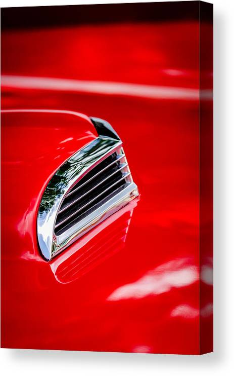 1956 Ford Thunderbird Hood Scoop Canvas Print featuring the photograph 1956 Ford Thunderbird Hood Scoop -287c by Jill Reger