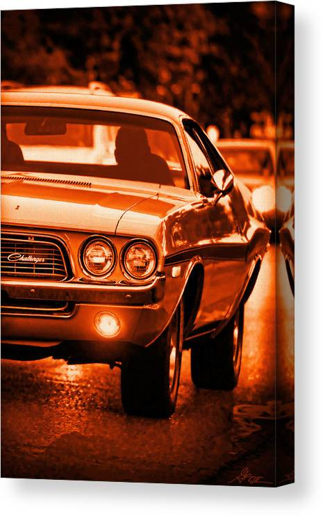 Canvas Print featuring the photograph 1972 Dodge Challenger In Orange by Gordon Dean II