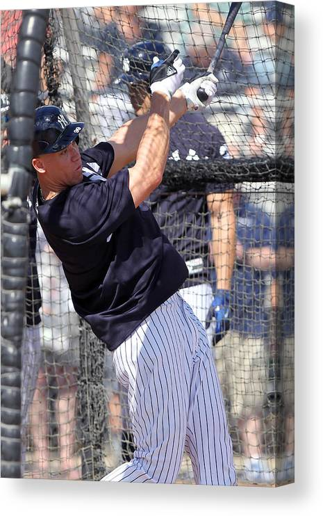 American League Baseball Canvas Print featuring the photograph MLB: FEB 20 Spring Training - Yankees Workout by Icon Sportswire