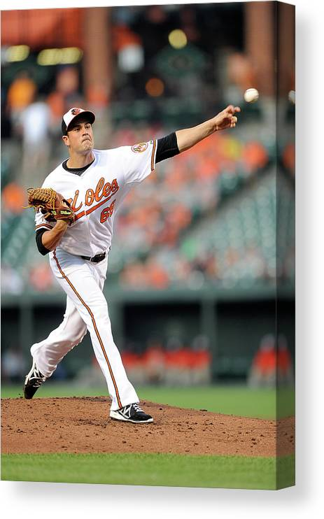 T.j. Mcfarland Canvas Print featuring the photograph Texas Rangers V Baltimore Orioles by Greg Fiume
