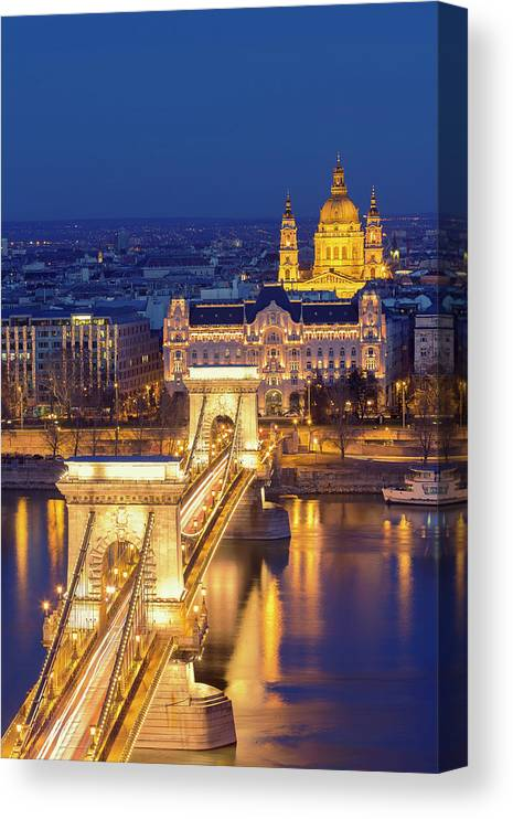 Viewpoint Canvas Print featuring the photograph The Chain Bridge In Budapest by Ultraforma