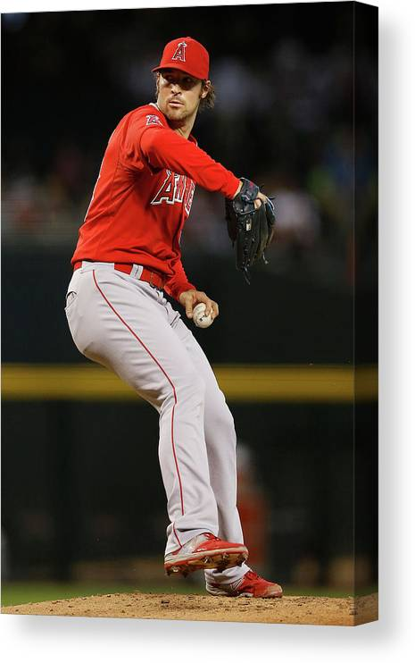 People Canvas Print featuring the photograph Los Angeles Angels Of Anaheim V Arizona by Christian Petersen