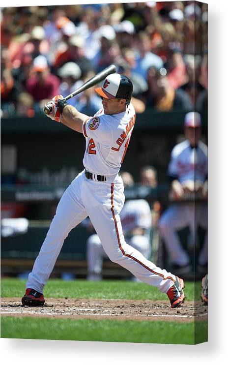 American League Baseball Canvas Print featuring the photograph Kansas City Royals V Baltimore Orioles by Rob Tringali