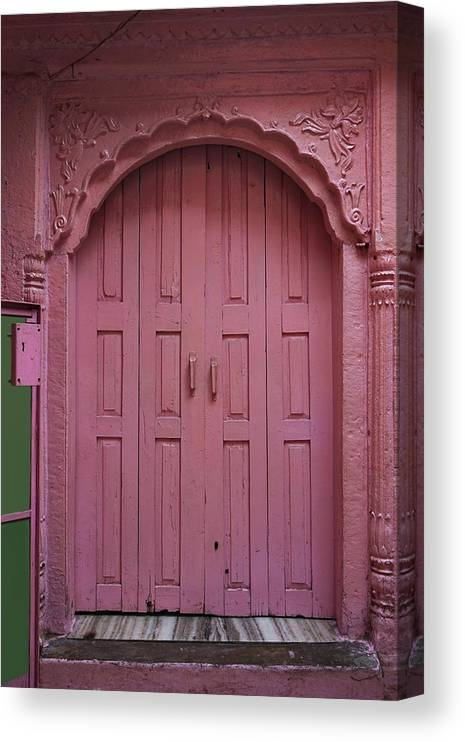 Description Canvas Print featuring the photograph Old Doors India, Varanasi by Stereostok