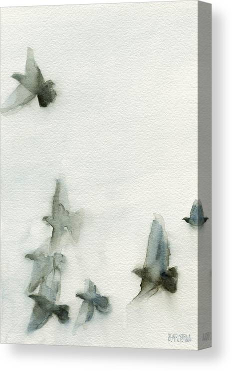 Bird Canvas Print featuring the painting A Flock of Pigeons 1 Watercolor Painting of Birds by Beverly Brown