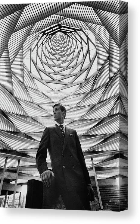 Fashion Canvas Print featuring the photograph A Male Model Wearing A Double-breasted Db by Leonard Nones
