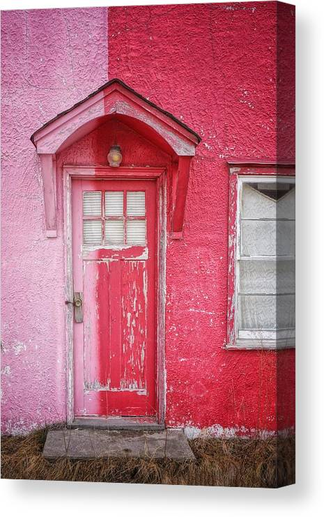 Built Structure Canvas Print featuring the photograph Abandoned Pink And Red House by Stan Strange / Eyeem
