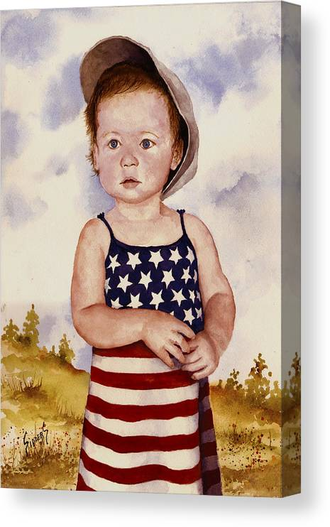 Kid Canvas Print featuring the painting An All American Girl Named Ireland by Sam Sidders