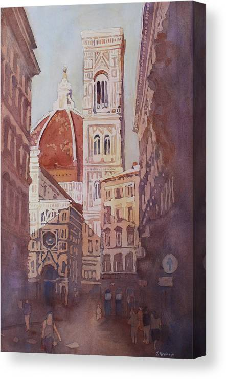 Duomo Campainula Canvas Print featuring the painting And Suddenly The Duomo by Jenny Armitage