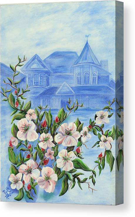 Apple Blossom Canvas Print featuring the painting Appleblossom by Mikki Alhart