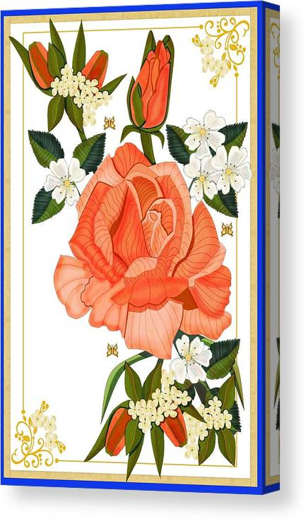 Rose Canvas Print featuring the painting Apricot Rose for Mother's Day by Anne Norskog